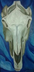 Horse's skull in blue